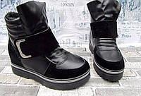 Ботинки зимние на меху женские черные  экокожа 36 р