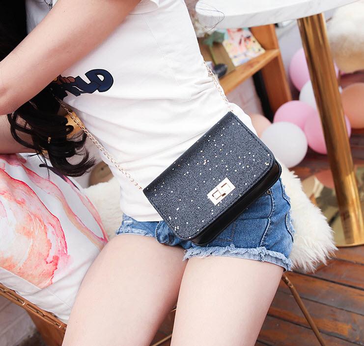 Стильная Fashion сумочка на цепочке с блестками
