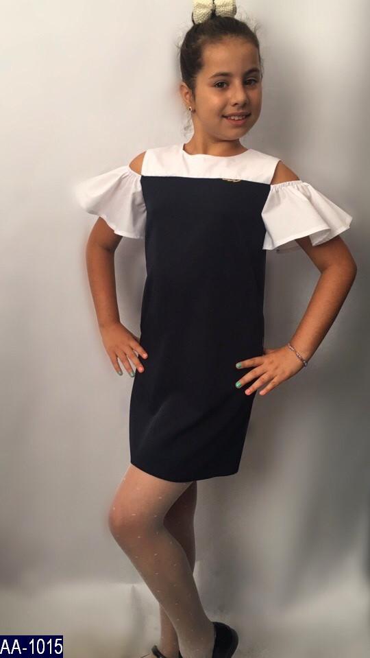 Платье сарафан школьный с белым верхом 122, 128, 134, 140 чёрный и синий Брошка на груди , два рабочих кармана