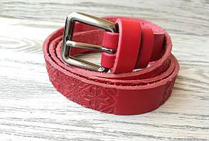 Женский кожаный ремень красная вышиванка 16 мм, фото 2