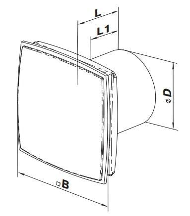Габаритные размеры бытового вентилятора ВЕНТС 150 ЛД Лайт
