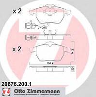Комплект тормозных колодок, дисковый тормоз ZIMMERMANN 206762001 на AUDI 100 седан (4A, C4)