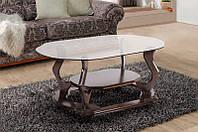 Уно журнальный столик со стекляной фигурной столешницей