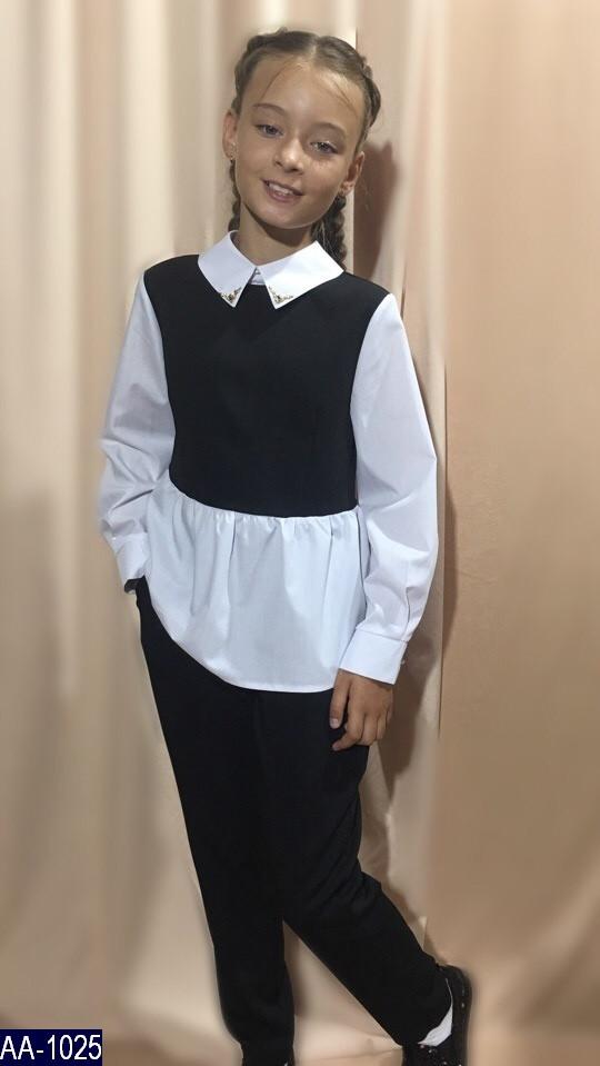 Костюм школьный брючный для девочки ткань,мадонна синяя,чёрная .серая тиар+белая х/б 128, 134, 140, 146