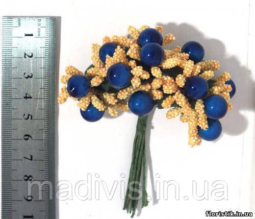 Тычинки на проволоке желтые с синими ягодами