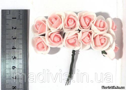 Роза из фуамирана на проволоке, розовая с белым