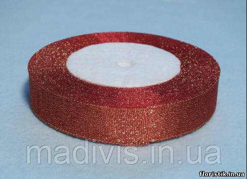 Лента парча красная с золотом 20 мм.