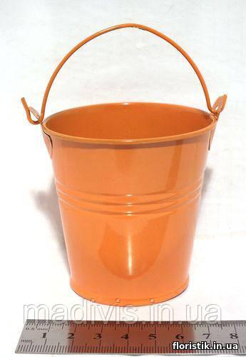 Ведерко декоративное 7 см. оранжевое