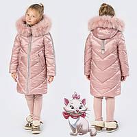 Детская зимняя куртка до коленна тинсулейте GT 8267  Розовый