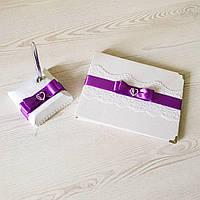Свадебная книга пожеланий и ручка на подствке в фиолетовом цвете