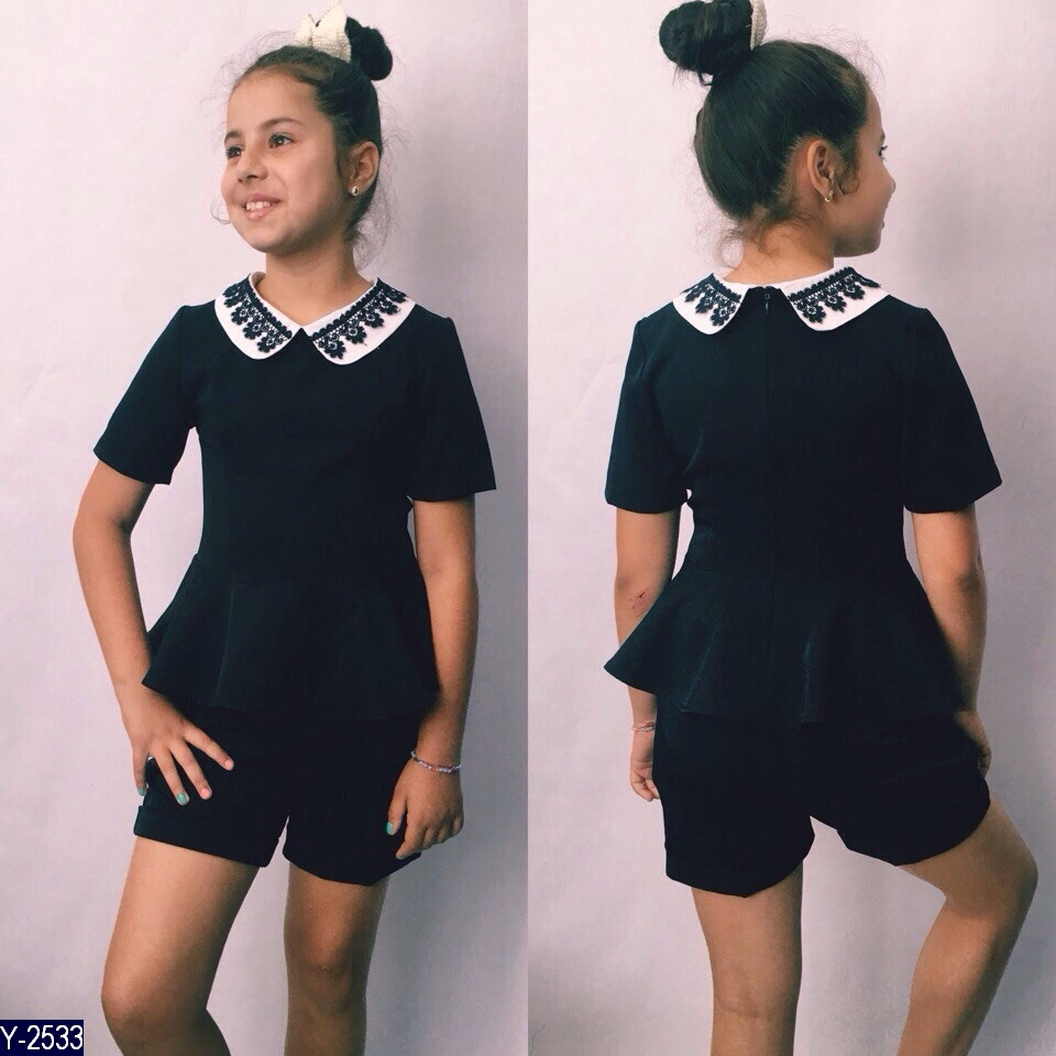 Костюм школьный для девочки Блуза баска и шорты 122, 128, 134, 140, 146 мадонна чёрная и синяя