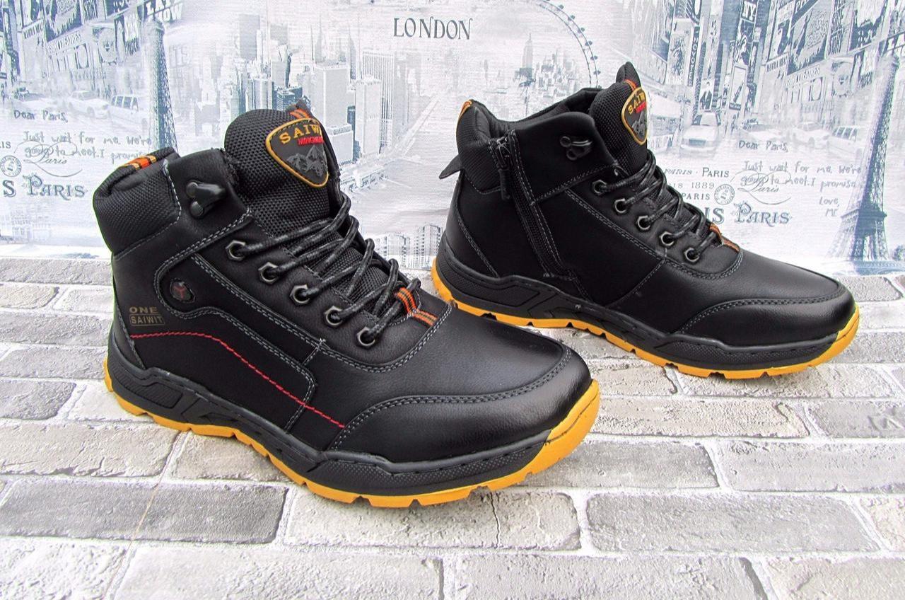 7cafe898 Ботинки зимние на меху мужские черные экокожа 36-41 р - Интернет-магазин