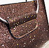 Сумочка в блестках с металлическими ручками котиками и клатчем, фото 4