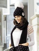 Krappa женская молодежная шапка с шарфом Kamea,полушерстяная, цвет черный с белым