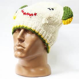 Шерстяная шапка вязаная с ушами