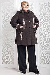 Женское демисезонное пальто больших размеров в 4х цветах В-587/2