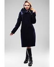 Зимнее женское пальто с мехом енота удлиненное