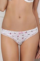 Трусики женские бразилиана белые с розами 3203/3 Gavana L