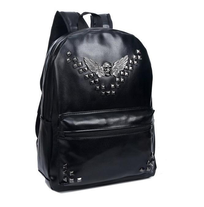 Большой готический рюкзак для школы с заклепками и черепом