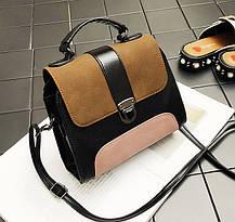 Модная сумка сундук с замшевыми вставками, фото 2