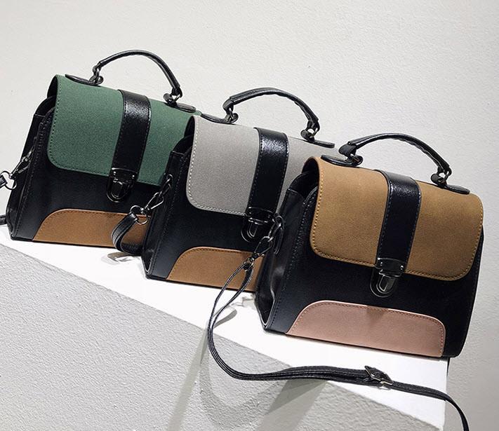 Модная сумка сундук с замшевыми вставками
