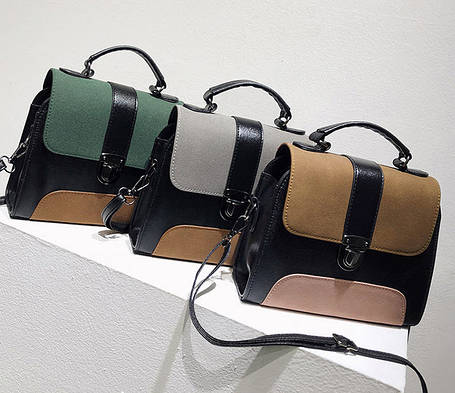 Модна сумка скриня з замшевими вставками, фото 2