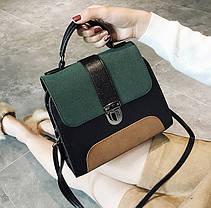 Модная сумка сундук с замшевыми вставками, фото 3