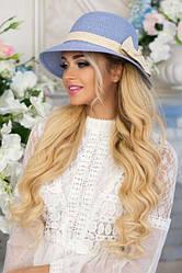 Соломенная шляпа с бантом в 3х цветах 1706/1