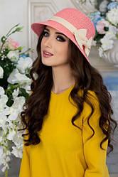 Соломенная шляпа с бантом в 2х цветах 1706/1
