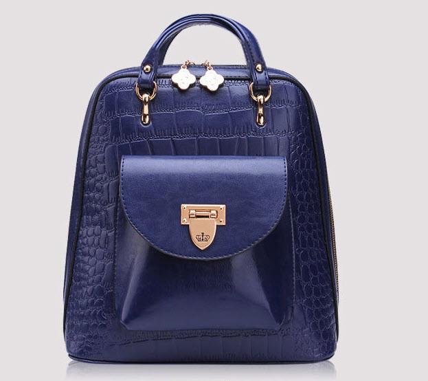 Дизайнерский женский рюкзак-сумка под крокодил