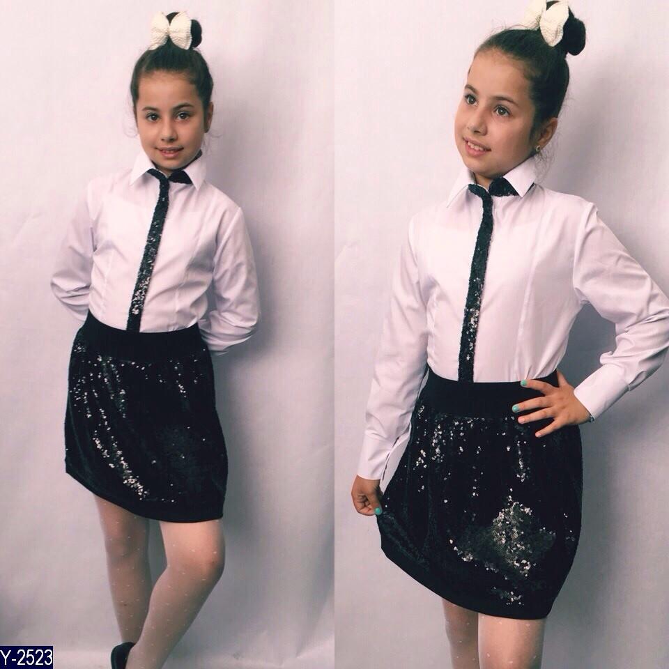 Блуза школьная с пайетками 122, 128, 134, 140, 146 ткань,х/б+ декор пайетка синяя и чёрная