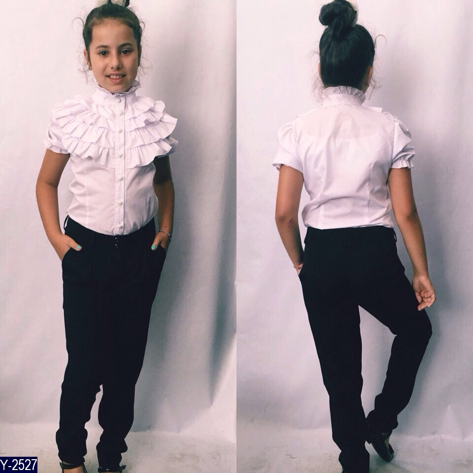 Блуза школьная с рюшами короткий рукав 128, 134, 140, 146, 152 ткань хб