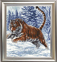 """Набор для вышивания крестом ТМ Золотое Руно """"Прыжок тигра. Дикие животные """" ДЖ-019"""