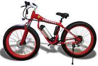 Горный электровелосипед с широкими колесами FERRARI FATBIKE + LCD мощность 250Вт Красный