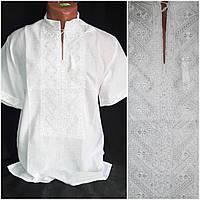 """Белая мужская вышиванка """"Богуслав"""", 100% хлопок, 42-60 р-ры, 480/430 (цена за 1 шт. + 50 гр.), фото 1"""