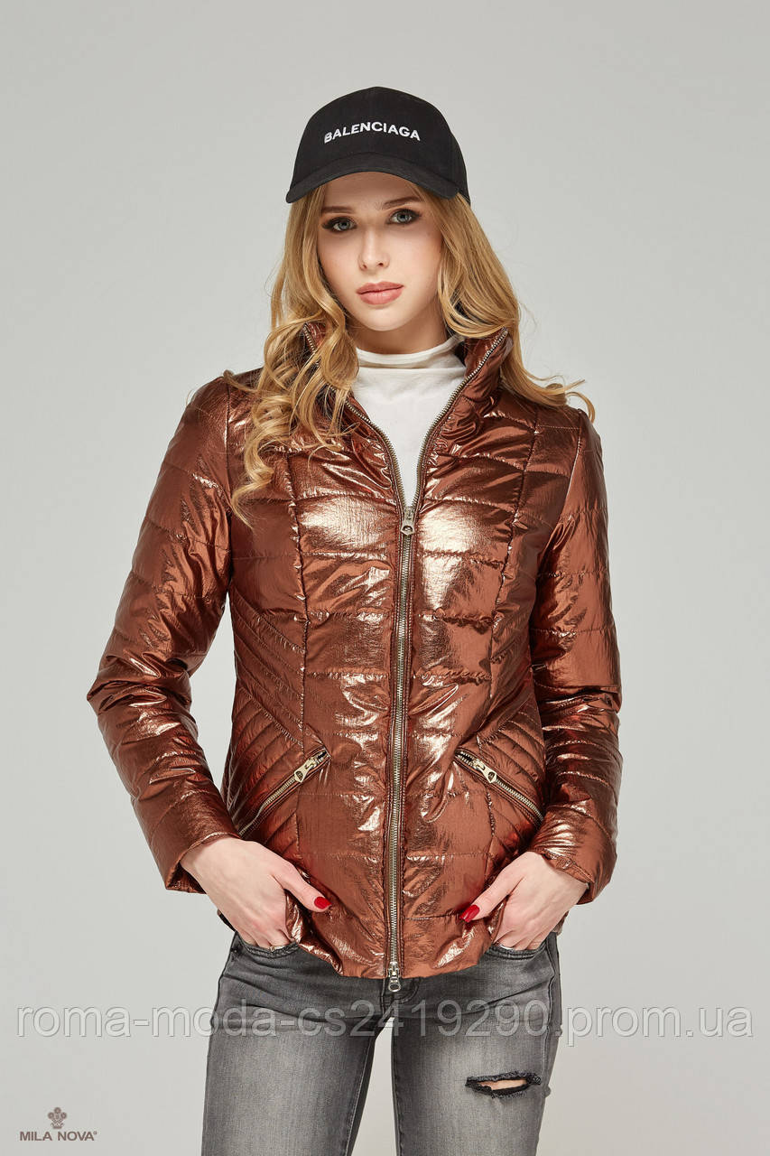 Короткая женская куртка в 6ти цветах К-63 металлик