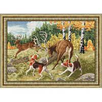 """Набор для вышивания крестом ТМ Золотое Руно """"Охота на оленя. Дикие животные """" ДЖ-031"""