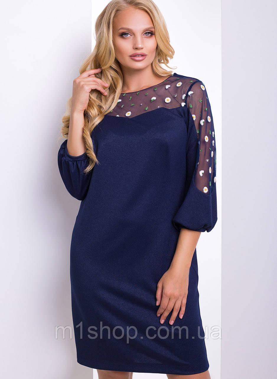 Женское платье с сеткой на рукавах больших размеров (Гербера lzn)