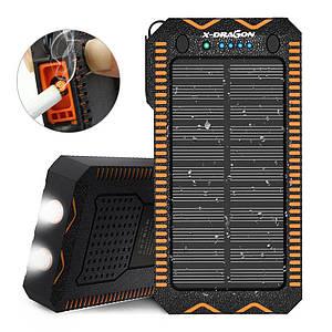 Power Bank X-Dragon 15000 мАч с солнечной панелью, зажигалкой и фонариком. Цвет: черный с оранжевым