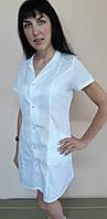 Женский медицинский белый халат Эрика на кнопках короткий рукав