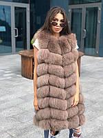 Женская натуральная  меховая жилетка  с песца 90 см цвет Капучино