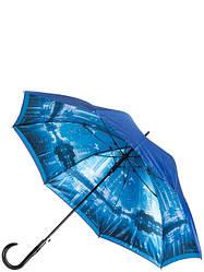 Женский зонт трость синий T-06-0348D