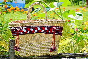 Сумка ручной работы, плетеная сумка  декорированная в этно стиле