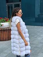 Женская натуральная  меховая жилетка люкс качества с песца 90 см