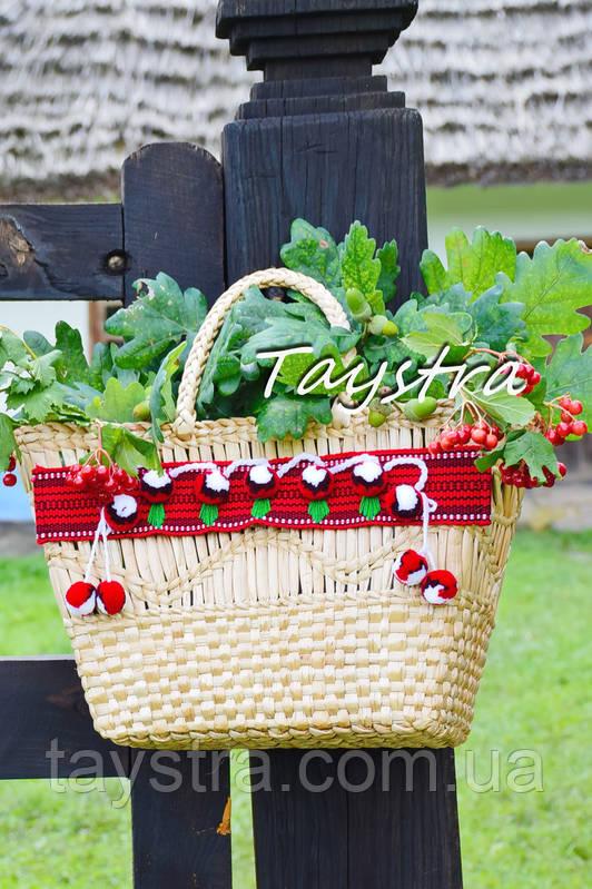 Сумочка ручной работы, плетеная сумка  декорированная в этно стиле