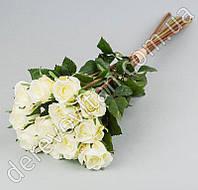 Букет искусственных роз, бело-салатовый, 12 шт, 43 см