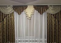 Готовые шторы с ламбрекеном Алина, шоколад