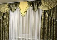Готовые шторы с ламбрекеном Алина, зелено-золотой