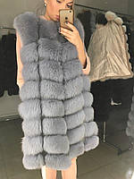 Женская натуральная  меховая жилетка люкс качества с песца 90 см цвет Серый