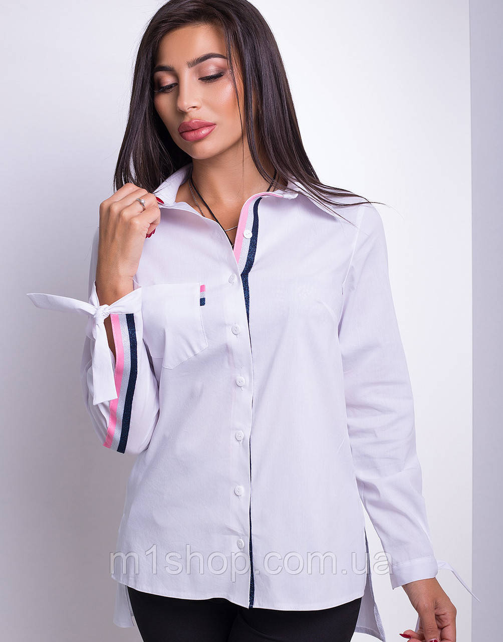 Женская рубашка с завязками на рукавах (Кураж lzn)